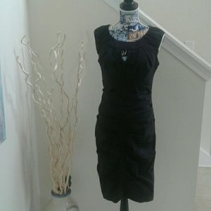 Ruched black dress, flattering fit, size 8